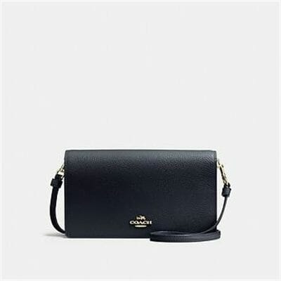 Fashion 4 - FOLDOVER CROSSBODY CLUTCH IN POLISHED PEBBLE LEATHER